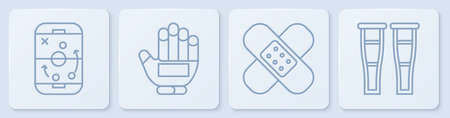 Set line Planning strategy, Crossed bandage plaster, Hockey glove and Crutch or crutches. White square button. Vector