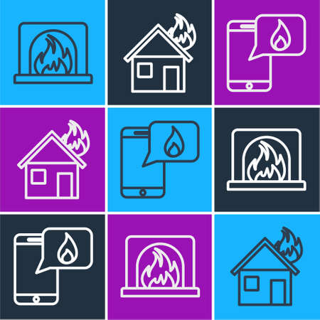 Set line Interior fireplace, Phone with emergency call 911 and Fire in burning house icon. Vector