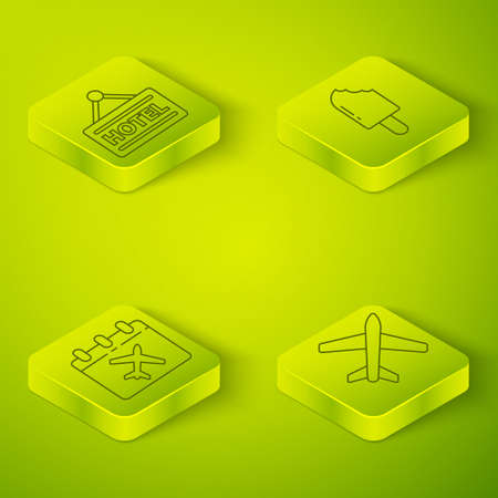 Set Isometric Ice cream, Calendar and airplane, Plane and Signboard with text Hotel icon. Vector