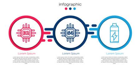 Set line Processor with microcircuits CPU, Processor with microcircuits CPU and Battery. Business infographic template. Vector Ilustração