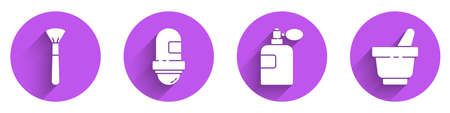 Set Makeup brush, Antiperspirant deodorant roll, Perfume and Mortar and pestle icon with long shadow. Vector