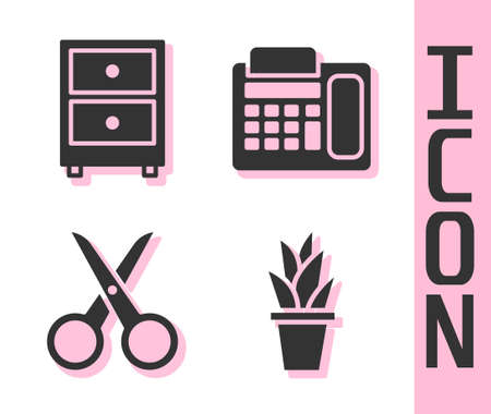 Set Plant in pot, Drawer with documents, Scissors and Telephone icon. Vector Vettoriali