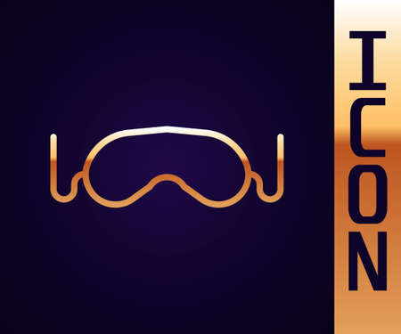 Gold line Eye sleep mask icon isolated on black background. Vector Illustration 向量圖像
