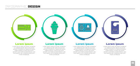Set Travel ticket, Ice cream in waffle cone, Passport and Please do not disturb. Business infographic template. Vector