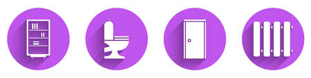 Set Library bookshelf, Toilet bowl, Closed door and Heating radiator icon with long shadow. Vector