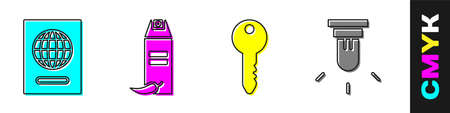 Set Passport, Pepper spray, Key and Motion sensor icon. Vector