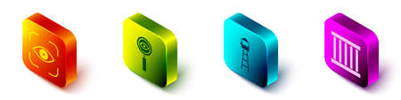 Set Isometric Eye scan, Magnifying glass Search, Watch tower and Prison window icon. Vector
