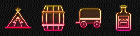 Set line Wild west covered wagon, Indian teepee or wigwam, Wooden barrel and Whiskey bottle. Glowing neon icon. Vector