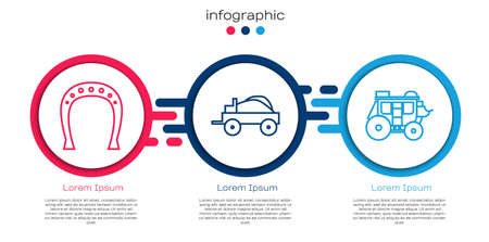 Set line Horseshoe, Wild west covered wagon and Western stagecoach. Business infographic template. Vector