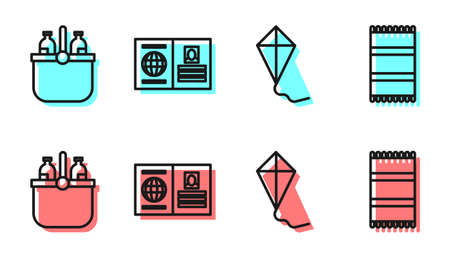 Set line Kite, Cooler bag and water, Passport and Beach towel icon. Vector