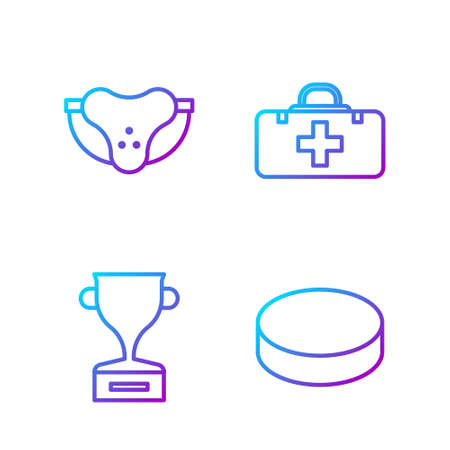 Set line Hockey puck, Award cup, Protective sport jockstrap and First aid kit. Gradient color icons. Vector Illustration