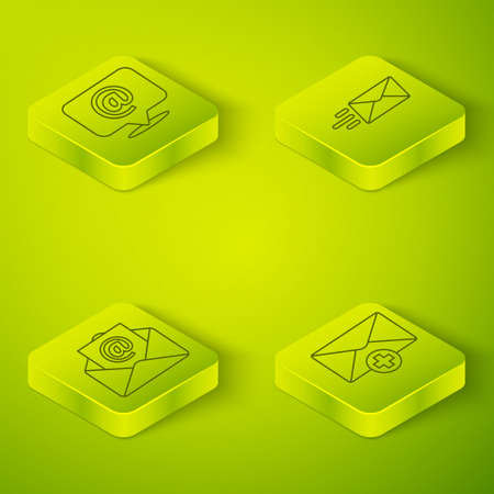 Set Isometric Express envelope, Mail and e-mail, Received message concept and Mail and e-mail on speech bubble icon. Vector