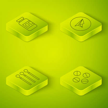Set Isometric Messenger, Matches, Medicine pill or tablet and Medicine bottle and pills icon. Vector
