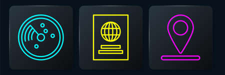 Set line Radar with targets on monitor, Location and Passport. Black square button. Vector
