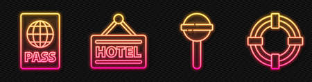 Set line Lollipop, Passport, Signboard with text Hotel and Lifebuoy. Glowing neon icon. Vector