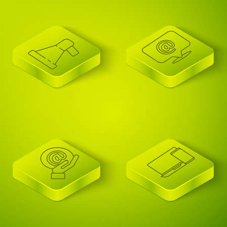 Set Isometric Mail and e-mail, Mail and e-mail in hand, Monitor and phone and Megaphone icon. Vector Ilustracja