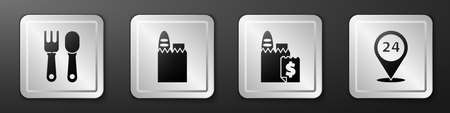 Set Fork and spoon, Shopping bag and food, Online ordering and delivery and Round the clock delivery icon. Silver square button. Vector