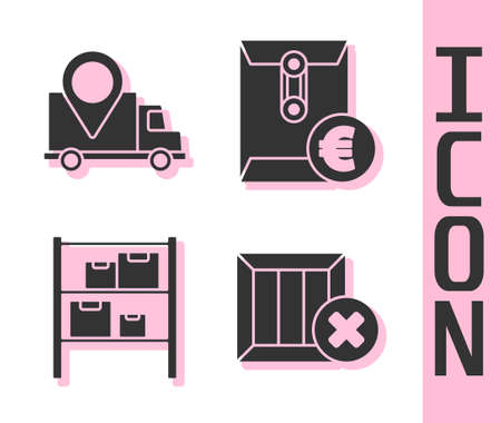 Set Wooden box and delete, Delivery tracking, Warehouse and Envelope with euro symbol icon. Vector