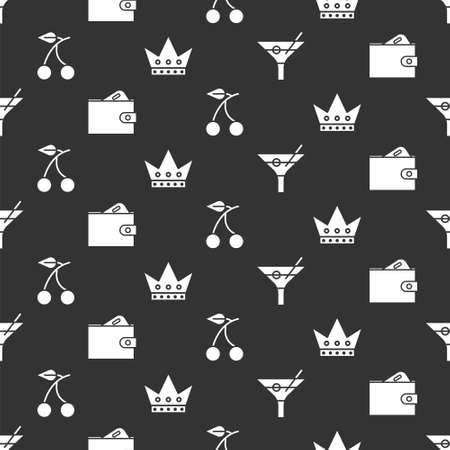Set Martini glass, Wallet with money, Casino slot machine with cherry and King playing card on seamless pattern. Vector