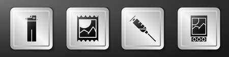 Set Lighter, LSD acid mark, Syringe and Open matchbox and matches icon. Silver square button. Vector Vector Illustration