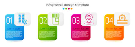 Set line Pills in blister pack, Medicine bottle, Map pointer with cross hospital and Otolaryngological head reflector. Business infographic template. Vector
