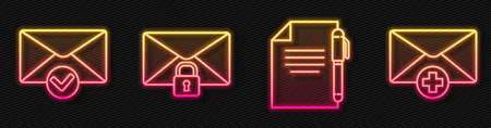 Set line Document and pen, Envelope and check mark, Mail message lock password and Received message concept. Glowing neon icon. Vector
