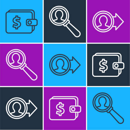 Set line Wallet with dollar, Job promotion and Magnifying glass for search a people icon. Vector