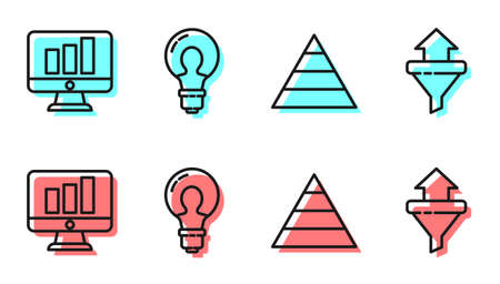 Set line Pyramid chart infographics, Monitor with graph chart, Light bulb with concept of idea and Sales funnel with arrows icon. Vector