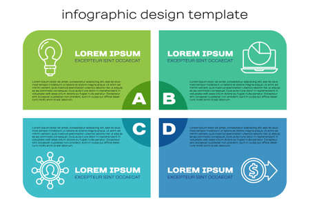 Set line Business network and communication, Light bulb with concept of idea, Coin money with dollar and Laptop with graph chart. Business infographic template. Vector