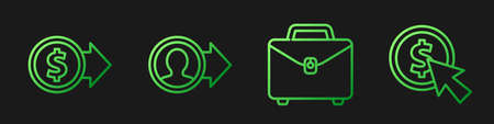 Set line Briefcase, Coin money with dollar, Job promotion and Cursor and coin. Gradient color icons. Vector Ilustracja