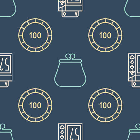 Set line Deck of playing cards, Casino chips and Wallet on seamless pattern. Vector