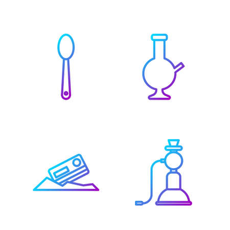 Set line Hookah, Cocaine and credit card, Heroin in a spoon and Glass bong for smoking marijuana. Gradient color icons. Vector Illusztráció