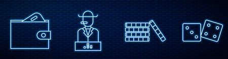 Set line Casino chips, Wallet with money, Poker player and Game dice. Glowing neon icon on brick wall. Vector