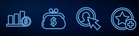 Set line User of man in business suit, Pie chart infographic and dollar, Wallet with dollar and Star. Glowing neon icon on brick wall. Vector