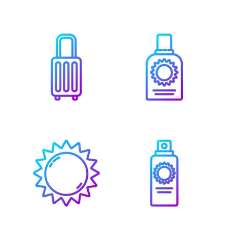 Set line Sunscreen spray bottle, Sun, Suitcase and Sunscreen spray bottle. Gradient color icons. Vector