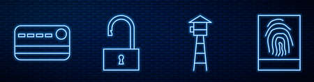 Set line Watch tower, Credit card, Open padlock and Fingerprint. Glowing neon icon on brick wall. Vector