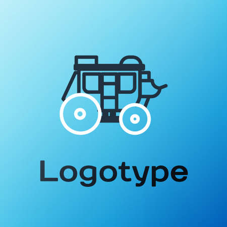 Line Western stagecoach icon isolated on blue background. Colorful outline concept. Vector Illustration