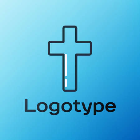 Line Christian cross icon isolated on blue background. Church cross. Colorful outline concept. Vector Illustration 向量圖像
