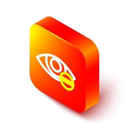 Isometric line Red eye effect icon isolated on white background. Eye redness sign. Inflammatory disease of eyes. Orange square button. Vector Illustration