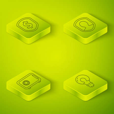 Set Isometric User protection, Safe, Light bulb with concept of idea and Shield with dollar icon. Vector