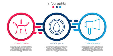 Set line Flasher siren, Water drop and Megaphone. Business infographic template. Vector