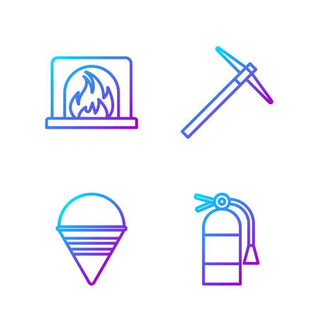 Set line Fire extinguisher, Fire cone bucket, Interior fireplace and Pickaxe. Gradient color icons. Vector Illustration