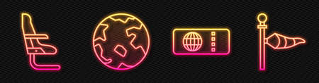 Set line Airline ticket, Airplane seat, Worldwide and Cone meteorology windsock wind vane. Glowing neon icon. Vector Vettoriali