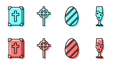Set line Easter egg, Holy bible book, Christian cross and Wine glass icon. Vector Ilustração
