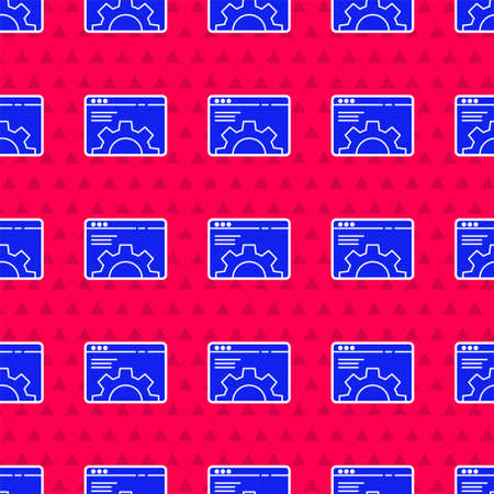 Blue Browser setting icon isolated seamless pattern on red background. Adjusting, service, maintenance, repair, fixing. Vector Illustration