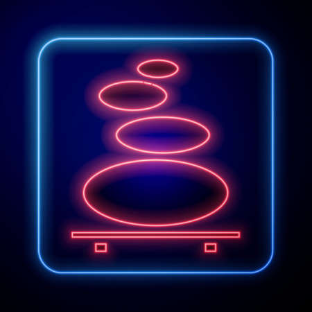 Glowing neon Stack hot stones icon isolated on blue background. Spa salon accessory. Vector Illustration