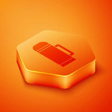 Isometric Thermos container icon isolated on orange background. Thermo flask icon. Camping and hiking equipment. Orange hexagon button. Vector Illustration Vectores