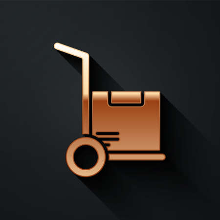 Gold Hand truck and boxes icon isolated on black background. Dolly symbol. Long shadow style. Vector Illustration