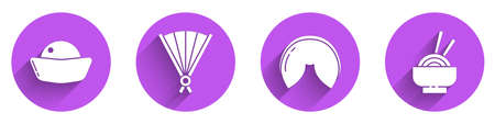 Set Sushi, Paper chinese folding fan, Chinese fortune cookie and Asian noodles in bowl icon with long shadow. Vector Illustration