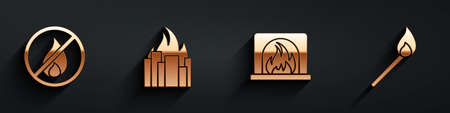 Set No fire, Fire in burning buildings, Interior fireplace and Burning match with fire icon with long shadow. Vector